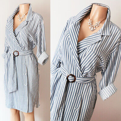 NEW Zara Basic Blue White Stripe Belted Wrap Button Down Long Sleeve Shirt Dress
