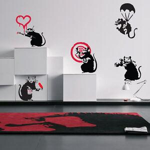 5x banksy rats wall decal sticker vinyl street art for Banksy rat mural