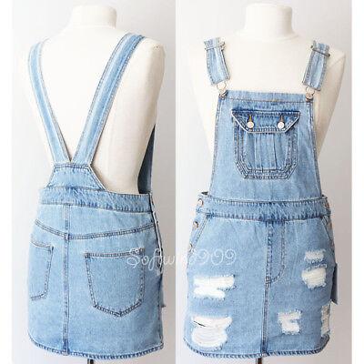 New Forever 21 Light Denim Blue 100  Cotton Jeans Distressed Overall Skirt Dress