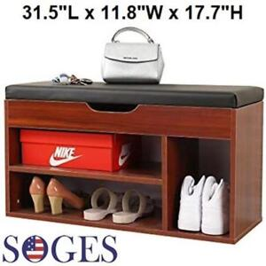 SOGES STORAGE BENCH - DARK WOOD/BLACK