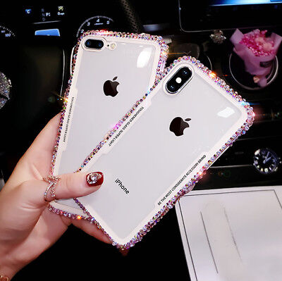 For iPhone XS XR 8 11 + Bling Rhinestone Case Glitter Silicone Transparent Cover