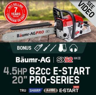 62cc Petrol Commercial Chainsaw 20 Bar E-Start Pruning New