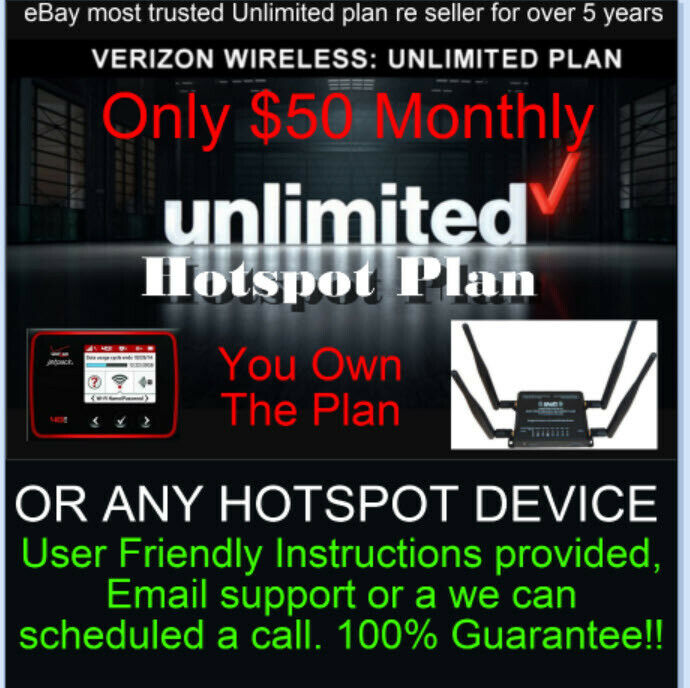 Verizon Hotspot Unlimited Plan - $50 monthly - Genuine IMIE