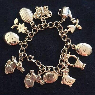 Vintage Easter Charm Bracelet Duck Egg Rabbit Basket Butterfly ()