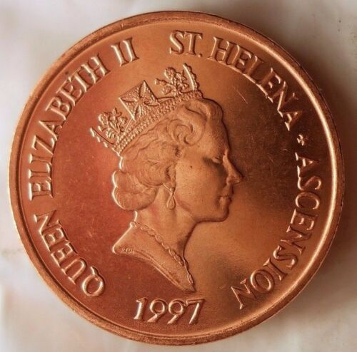 1997 ST HELENA AND ASCENSION PENNY - AU/UNC RED - Low Mintage Coin - BIN #AAA