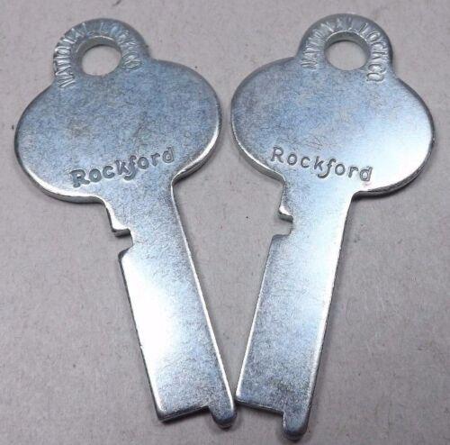 2 RARE NOS National Lock Rockford Flat Lever Tumbler Keys 651-1 Steamer Trunk +