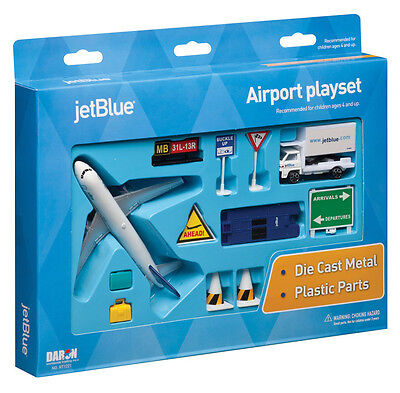 Daron Jet Blue Airlines Airport Play Set Die Cast Metal 12 Pieces Mint Box
