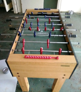 Full size sports craft foosball table and matching air hockey ta