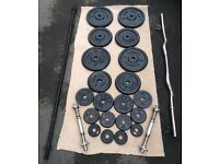 76kg CAST IRON WEIGHT PLATES WITH 2 BARBELLS AND A PAIR OF DUMBBELLS