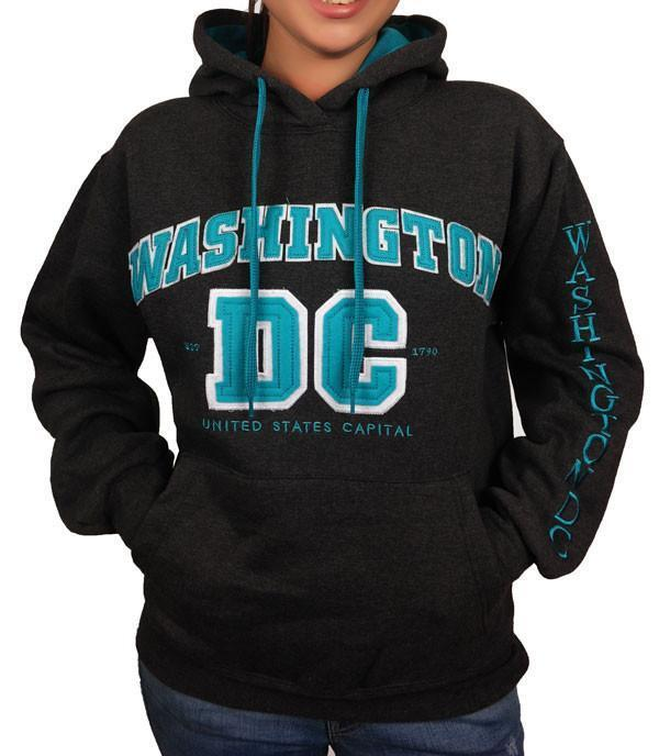 Washington DC Charcoal Turquoise Hoodie Sweatshirt Embroidered Letters Unisex