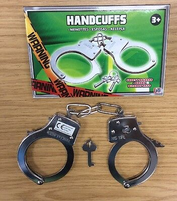 KIDS TOY METAL HANDCUFFS WITH KEY FOR PRETEND PLAY OR FANCY DRESS HAND CUFFS
