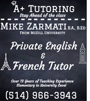 French and English Tutor (Bachelor in Education from McGill)