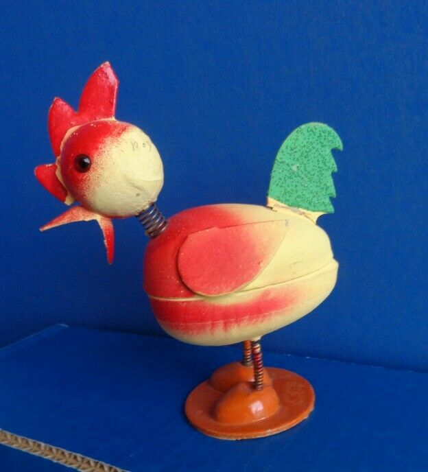 VINTAGE EASTER CHICK PAPER MACHE NODDER CANDY CONTAINER- GERMAN
