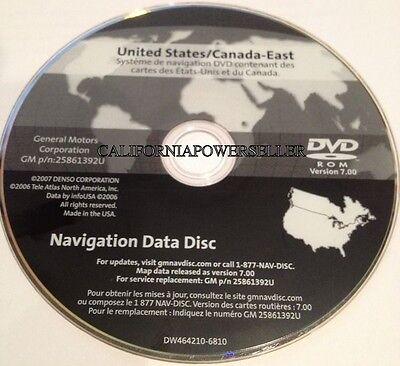 2004-2009 CADILLAC XLR XLR-V SRX STS NAVIGATION DVD 25861392U VER 7.00 EAST MAP
