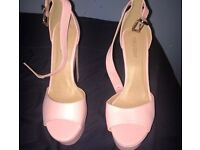 Leather baby pink heels size 8 Public Desire