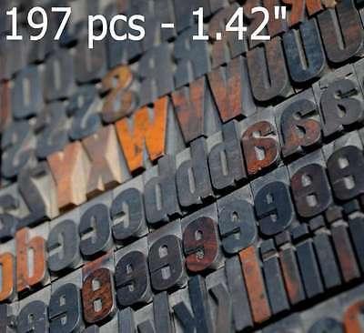 Letterpress Wood Printing Blocks 197 Pcs - 1.42 Tall Alphabet Type Woodtype Abc