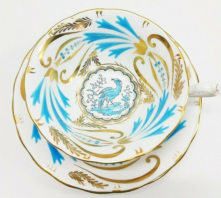 Royal Chelsea England Turquoise Gold Bird Of Paradise Tea Cup & Saucer Set EUC