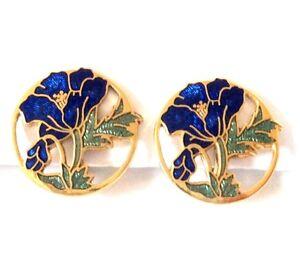 c.1980s BRIGHT BLUE GREEN Cloisonne ENAMEL EARRINGS Clip-On FLOWER Round