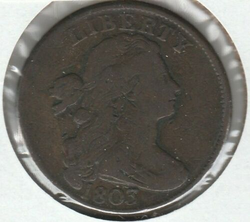 1803 Small Date Large Fraction Very Good VG Draped Bust US Large Cent 1C