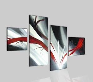 Quadri moderni astratti grigio rosso nero olio su tela for Quadri moderni astratti su tela