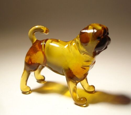 Blown Glass Handmade Art Figurine Dog PUG