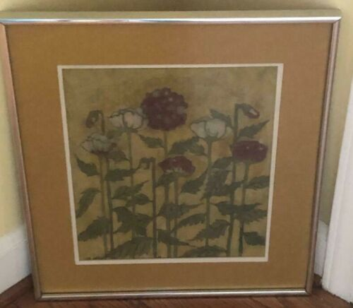 Martha Swanger Matted Framed Signed Original Batik Textile Fabric Art Flowers