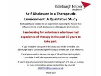 Volunteers needed for Research Study investigating Therapeutic Experience