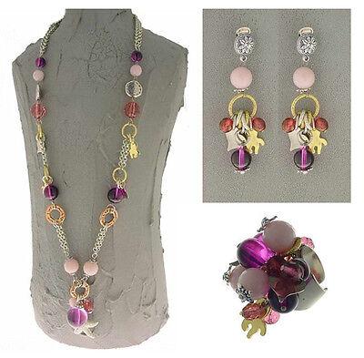 Italian Made Designer Fashion Costume Jewelry Set: Necklace Earrings Ring Italian Set Earrings