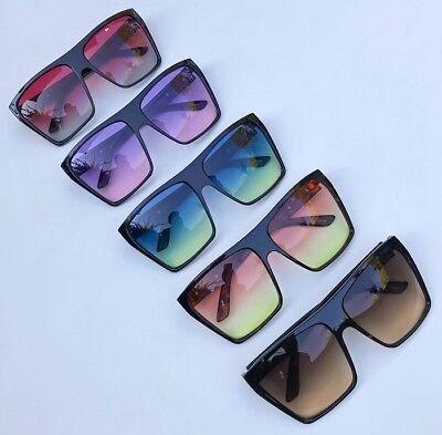 NEW Super HOT Oversized Square Flat Top Square Ombre Large Sunglasses 8818 (Super Sunglasses Flat Top Large)