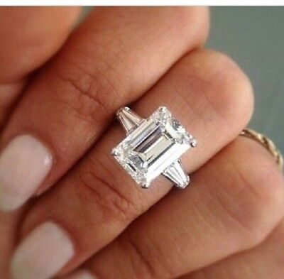 Genuine 2.30 Ct Emerald Cut Baguette Diamond Platinum Engagement Ring F VS1 GIA 4