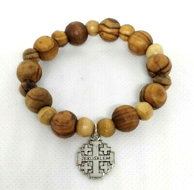 Hand Made OLIVE WOOD BRACELET mini Rosary/ Single Decade from the Holy Land