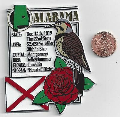 ALABAMA   STATE MONTAGE FACTS MAGNET with state  bird  flower  and flag,
