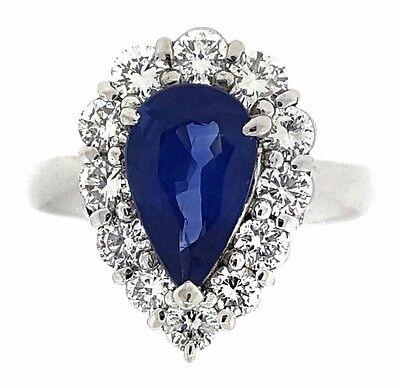 Diamond Blue Pear Sapphires Ring - Cornflower Blue Pear Shaped Sapphire and Diamond Ring in Platinum - HM1816AE