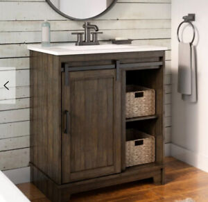 new in the box washroom vanity (wood) - espresso color - 50% off