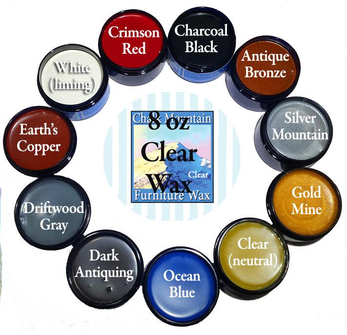 Chalk furniture Wax  8 0z Clear &  4 oz Accenting Wax 10 Col