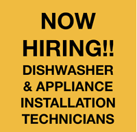 Vancouver Dishwasher and Appliance installation techs needed!
