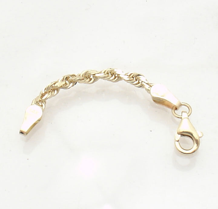 3mm Heavy Duty Solid Diamond Cut Rope Chain Necklace Extender  10K Yellow Gold