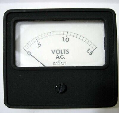 Phaostron 1.5 Ac Voltmeter - Square Black Metal Panel Meter - New In Box