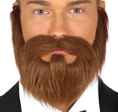 Herren Braun Kostüm Bart mit Schnurrbart Neu (Braun Bart Kostüm)