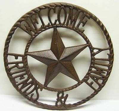 Indoor/Outdoor Metal Wall Decor Star w/ Welcome Friends and Family Sign Western - Western Star Decor