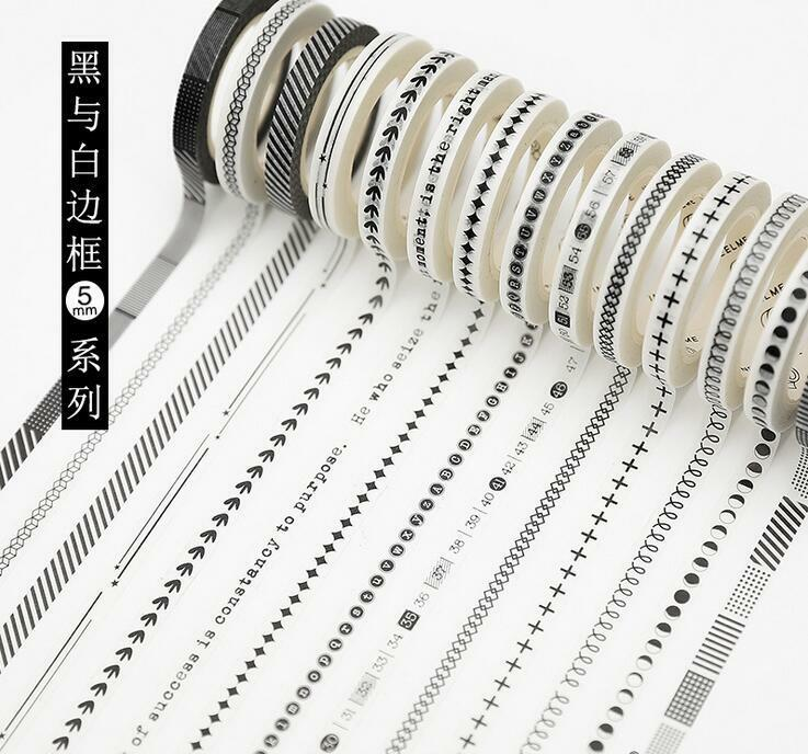 7M Black and white border Washi Paper Tape Album creative design Stickers 5mm