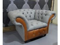 NEW Chesterfield Belmont Club Chair in Grey Wool Effect Fabric & Tan Leather - Uk Delivery