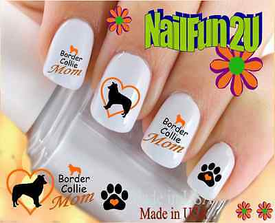 Nail Art #113M DOG BREED Border Collie MOM 2 WaterSlide Nail Decals Transfers Border Art Transfer