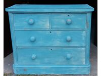 Victorian Painted Chest of Two over Two Shabby Chic Drawers Upcycled Bedroom