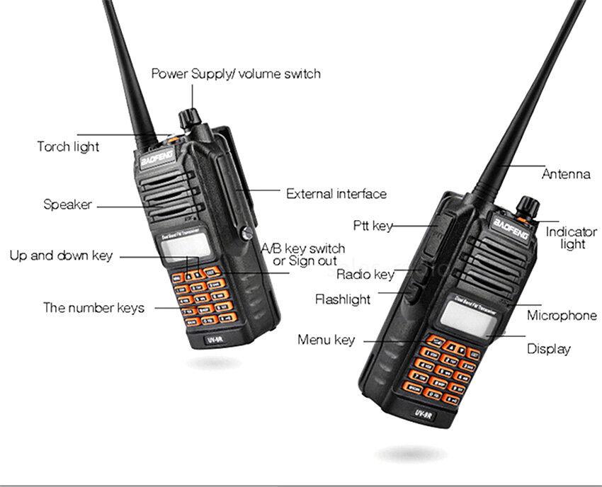 2X BaoFeng UV-9R IP67 Waterproof Walkie Talkies VHF/UHF