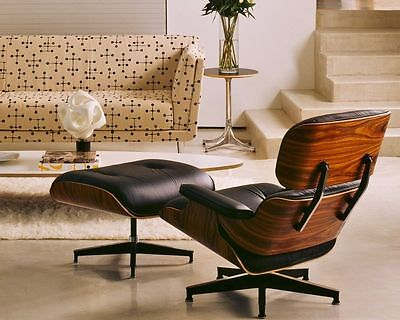 - EAMES Lounge Chair and Ottoman ROSEWOOD 100% Genuine TOP GRAIN Italian Leather