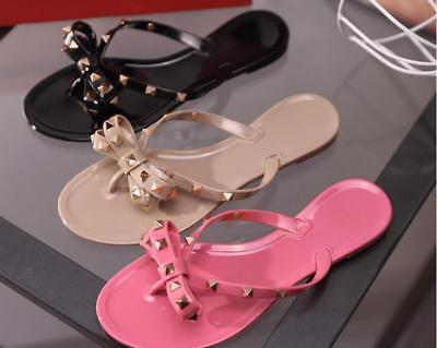 Womens PVC Flip Flops Flat Sandals Rockstud Bow Rivet Summer Beach Slippers ()