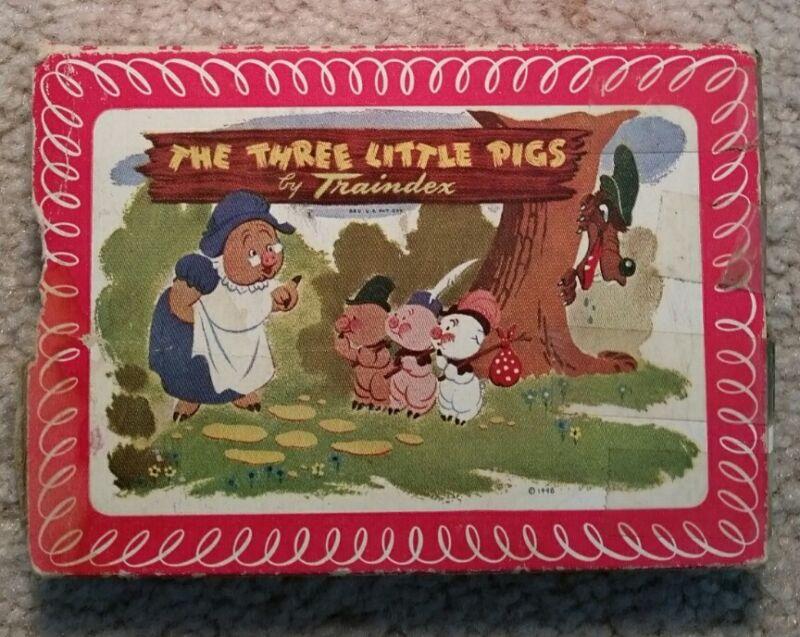 "Vintage Traindex ""Three Little Pigs"" Card Game, 1948"