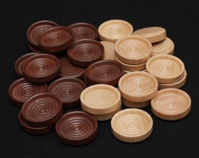 30 Wood Backgammon Checker pieces - Dark Brown and Natural
