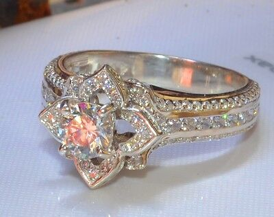 Real 1.58ct Round Cut Diamond Blossom Engagement Ring 14k Solid White (Gold Round Cut Flower)